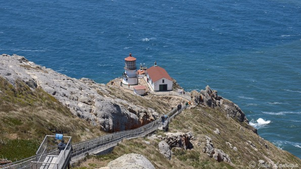 The lighthouse at the bottom of the hill