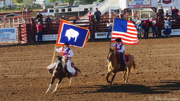 Wyoming and US flag on parade