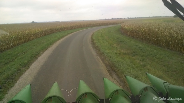 Driving to the corn field to be cut