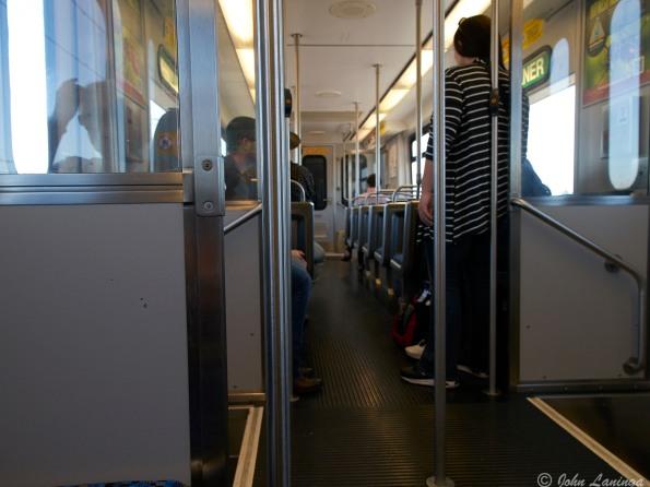 On the Dallas Rapid Transit train