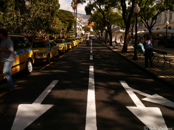 Downtown Funchal -- lots of taxis