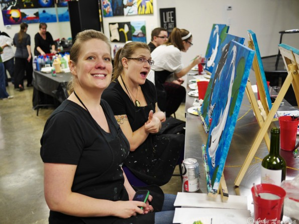 Stacy and Dallas are quite upbeat about their painting