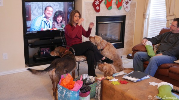 Tanya, directing the dog choir.  Enjoyed by Randy Quaid.