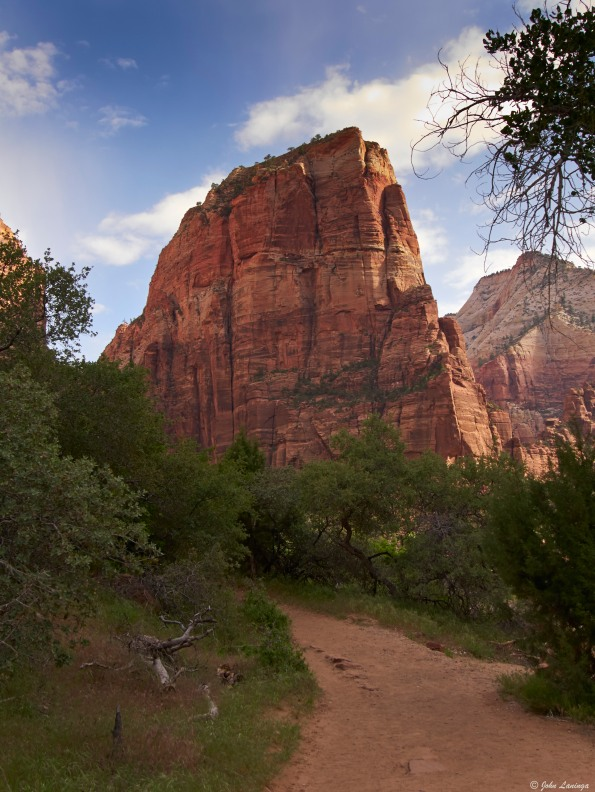 A river's side view of Angels Landing