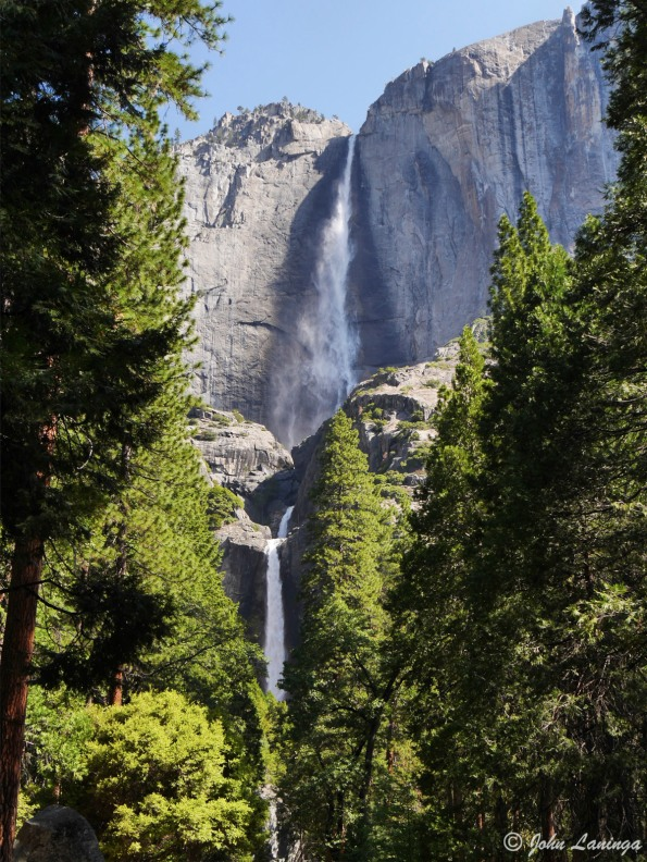 A view of Lower and Upper Yosemite falls