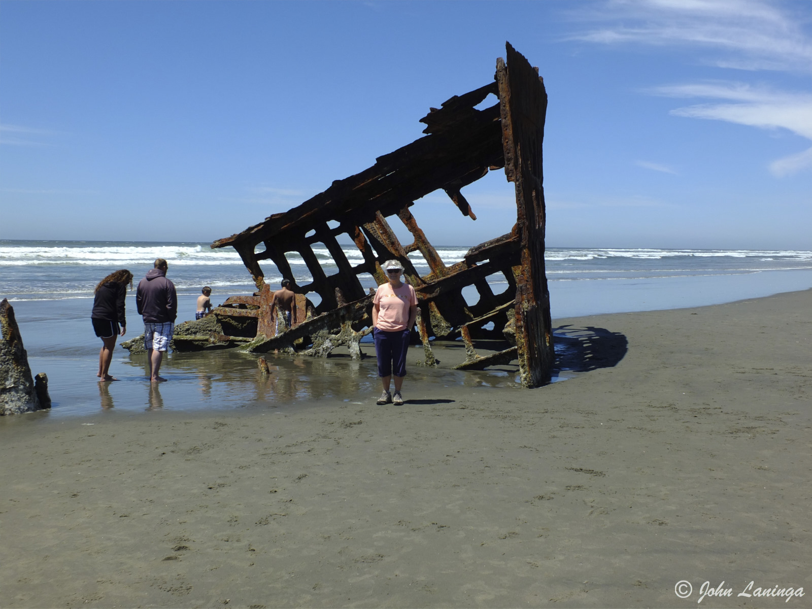 Standing by the Peter Iredale, shipwrecked in 1906