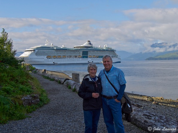 Us with ship in background