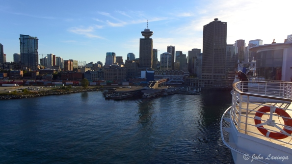 Looking back into the sun as we depart Vancouver harbor.
