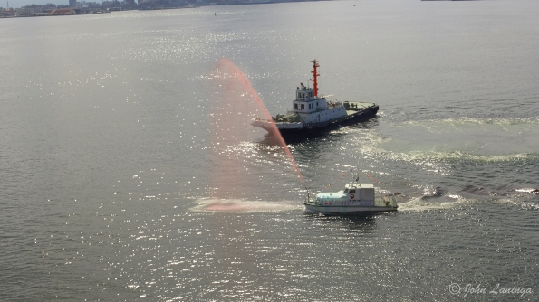 On arrival, we were greeted by a colorful display by a firefighting boat.
