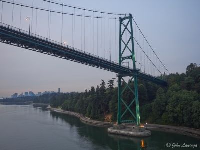 Passing under the Lions Gate Bridge
