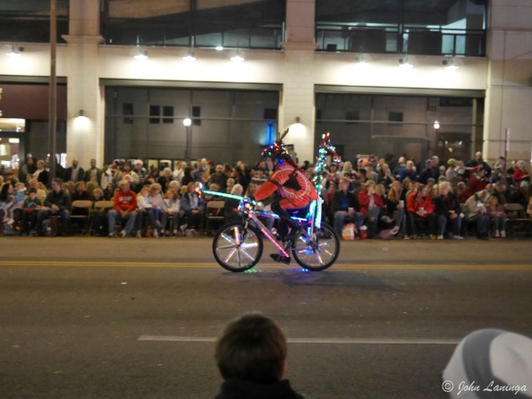 A guy on his bike (with lights)