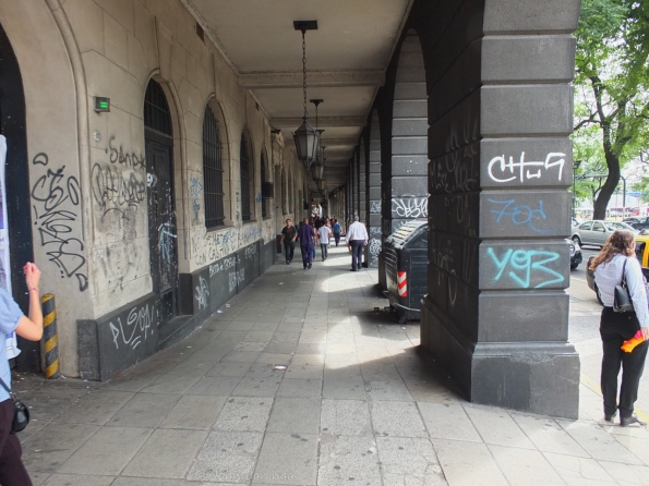 Walkway under one of the buildings