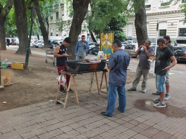 Cooking on the street - with a charcoal grill