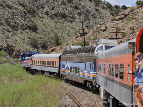 The train heads into the Gorge, starting in Canon City