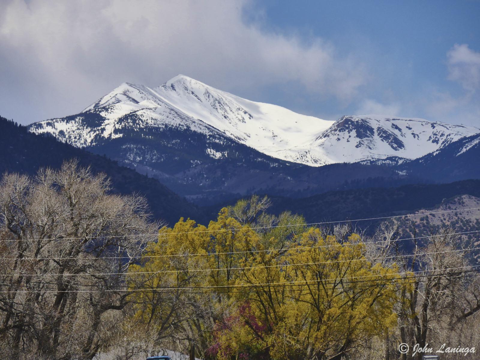 A nearby mountain peak