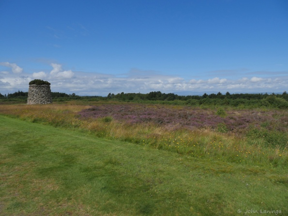 Some of the battlefield and the memorial cairn