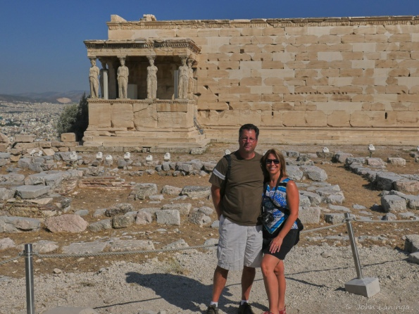 Tanya and Shane in front of the caryatids (female statues)