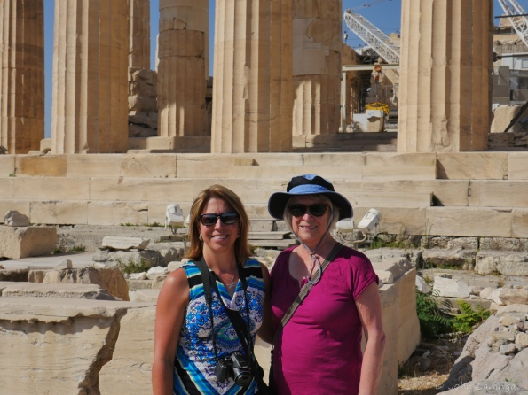 Tanya and Romola in front of the Parthenon