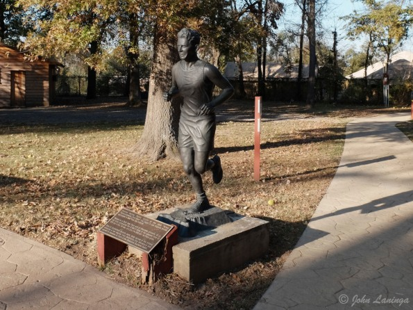 A statue of Andrew Payne, a participant in the great Transcontinental Footrace (1928)
