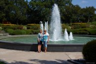 Romola and Naomi posing by the fountain.