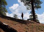 A hiker in profile
