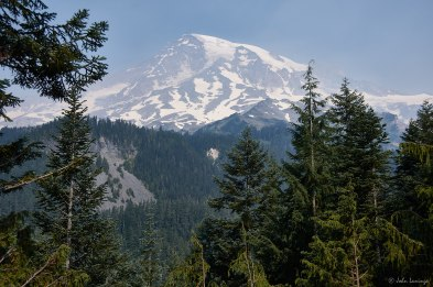 Mount Rainier (and smoke) from the roadway